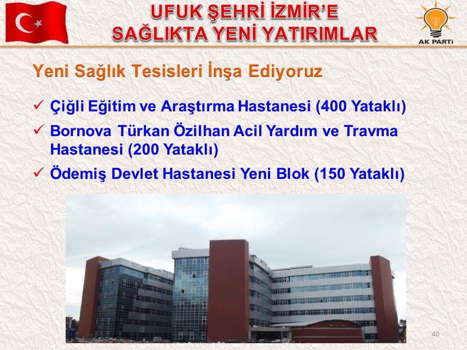 40 Çiğli Eğitim ve Araştırma Hastanesi (400 Yataklı) Bornova Türkan Özilhan Acil Yardım ve Travma Hastanesi (200 Yataklı) Ödemiş Devlet Hastanesi Yeni
