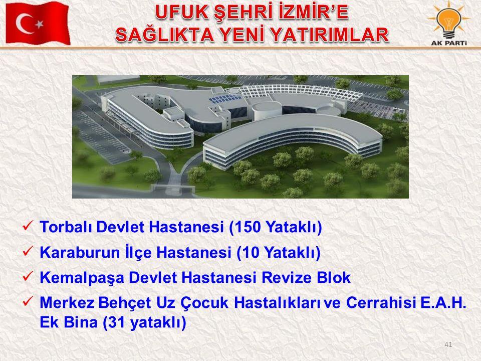 41 Torbalı Devlet Hastanesi (150 Yataklı) Karaburun İlçe Hastanesi (10 Yataklı) Kemalpaşa Devlet Hastanesi Revize Blok Merkez Behçet Uz Çocuk Hastalıkları ve Cerrahisi E.A.H.