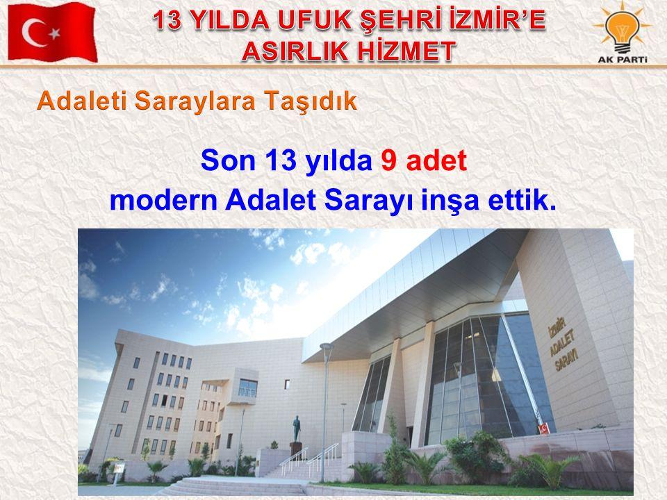 45 Son 13 yılda 9 adet modern Adalet Sarayı inşa ettik.