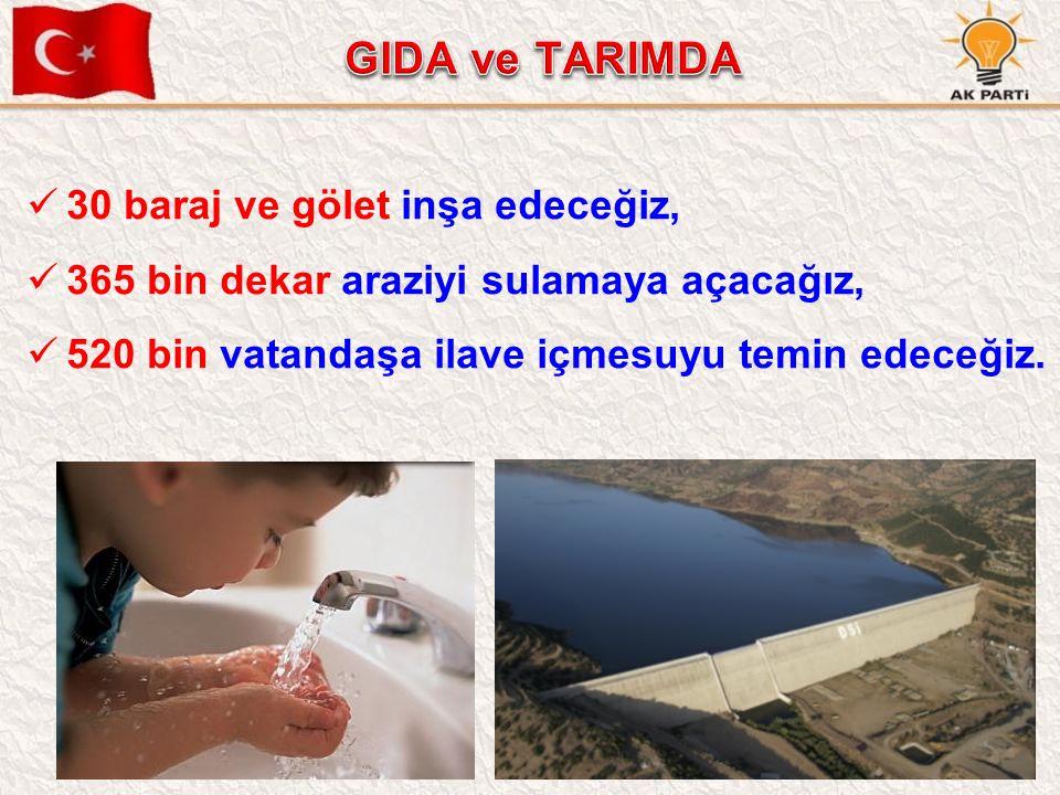 52 30 baraj ve gölet inşa edeceğiz, 365 bin dekar araziyi sulamaya açacağız, 520 bin vatandaşa ilave içmesuyu temin edeceğiz.