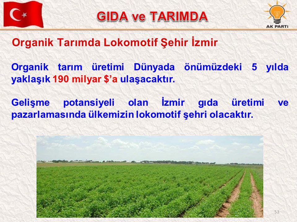53 Organik tarım üretimi Dünyada önümüzdeki 5 yılda yaklaşık 190 milyar $'a ulaşacaktır.