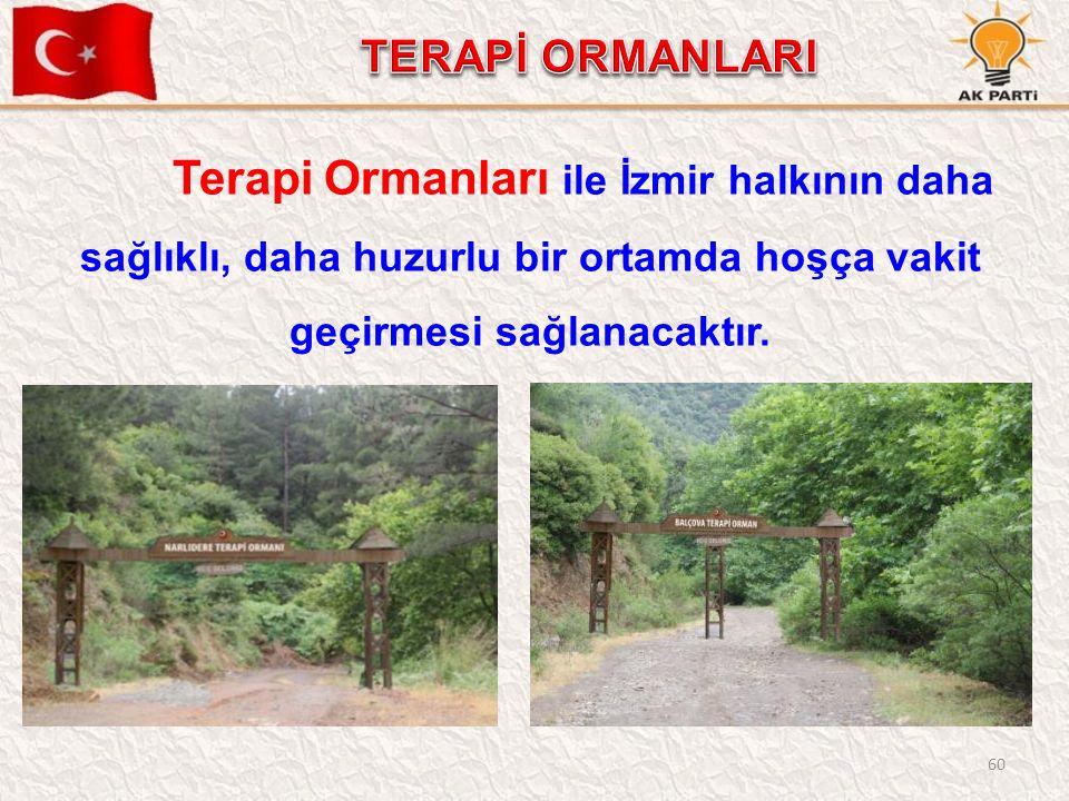 60 Terapi Ormanları ile İzmir halkının daha sağlıklı, daha huzurlu bir ortamda hoşça vakit geçirmesi sağlanacaktır.