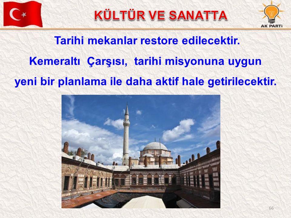 66 Tarihi mekanlar restore edilecektir.