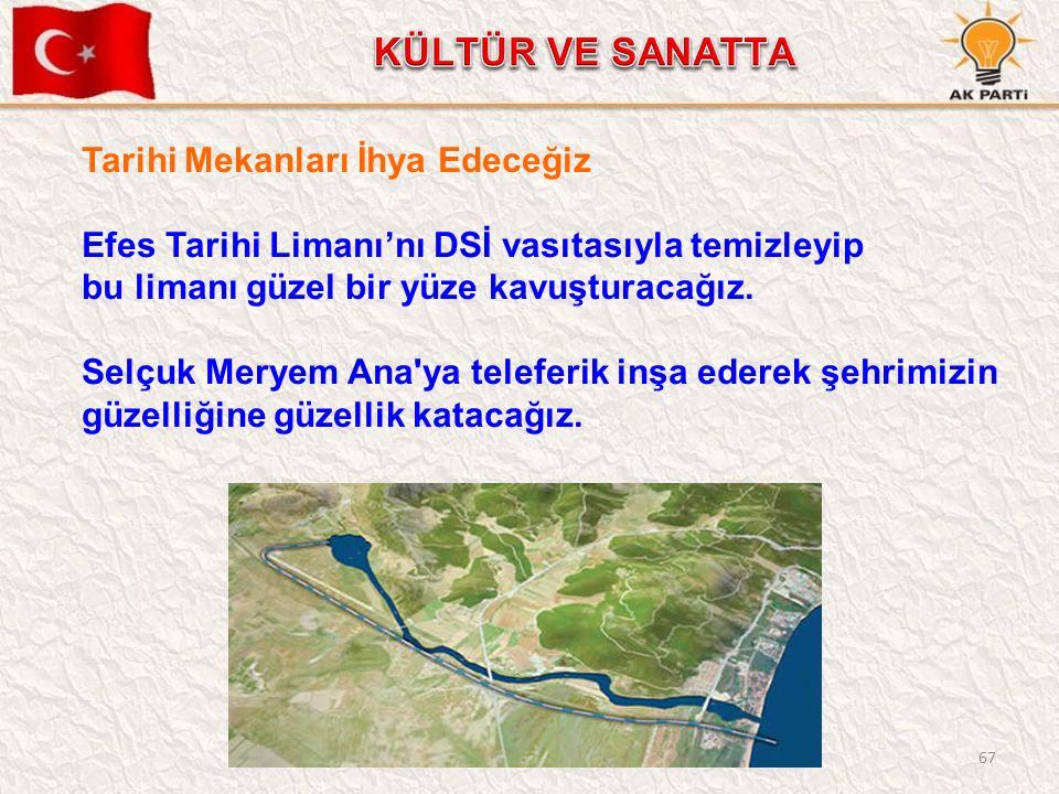 67 Tarihi Mekanları İhya Edeceğiz Efes Tarihi Limanı'nı DSİ vasıtasıyla temizleyip bu limanı güzel bir yüze kavuşturacağız. Selçuk Meryem Ana'ya telef