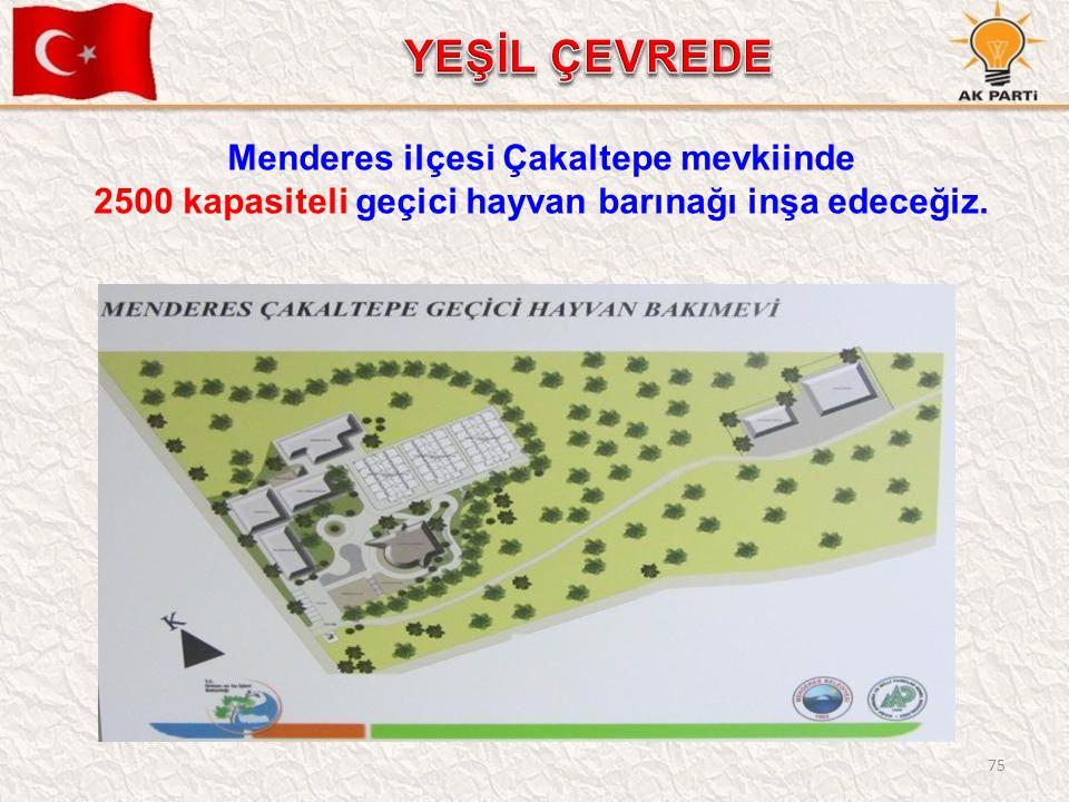 75 Menderes ilçesi Çakaltepe mevkiinde 2500 kapasiteli geçici hayvan barınağı inşa edeceğiz.