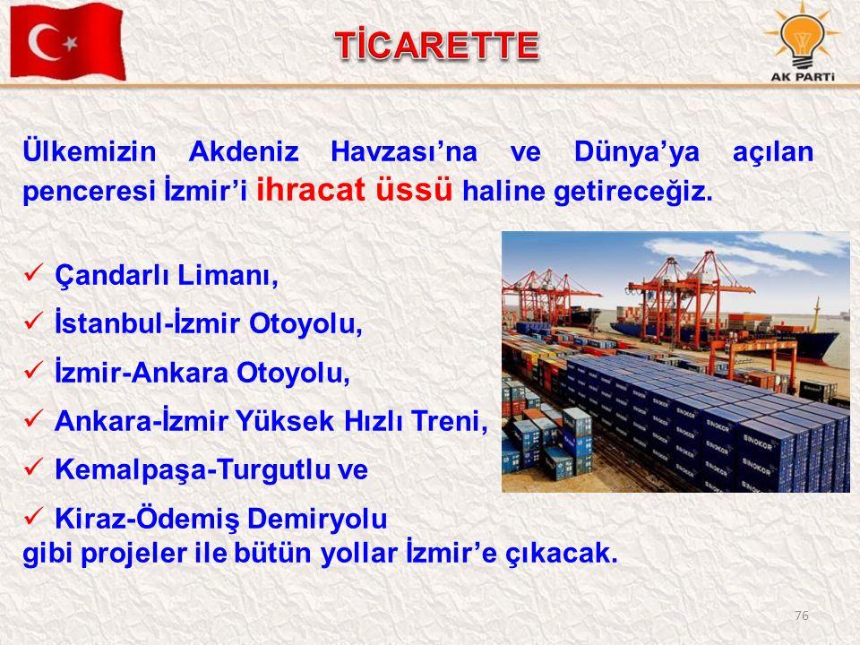 76 Ülkemizin Akdeniz Havzası'na ve Dünya'ya açılan penceresi İzmir'i ihracat üssü haline getireceğiz. Çandarlı Limanı, İstanbul-İzmir Otoyolu, İzmir-A