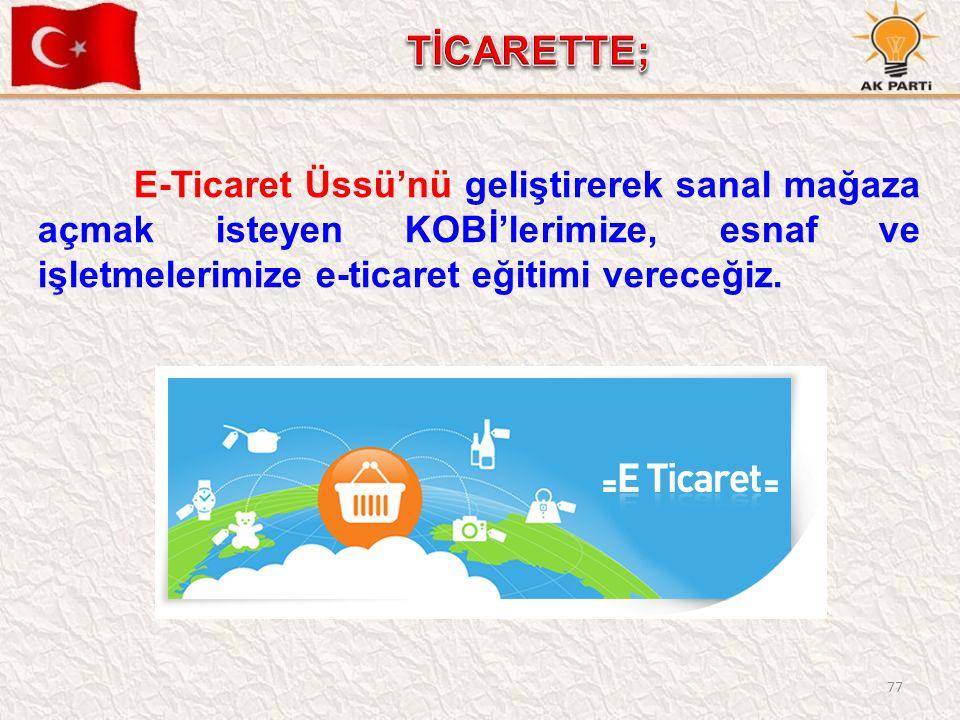77 E-Ticaret Üssü'nü geliştirerek sanal mağaza açmak isteyen KOBİ'lerimize, esnaf ve işletmelerimize e-ticaret eğitimi vereceğiz.
