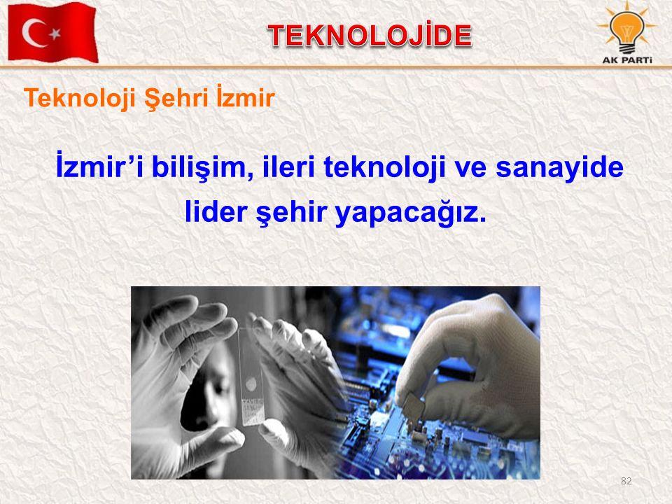 82 İzmir'i bilişim, ileri teknoloji ve sanayide lider şehir yapacağız. Teknoloji Şehri İzmir