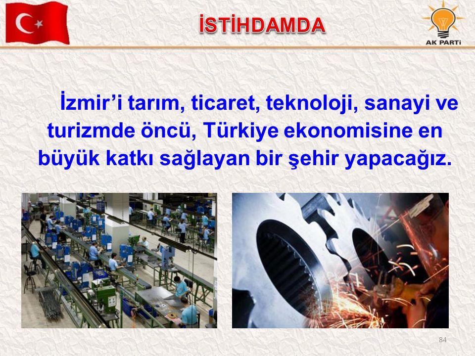84 İzmir'i tarım, ticaret, teknoloji, sanayi ve turizmde öncü, Türkiye ekonomisine en büyük katkı sağlayan bir şehir yapacağız.