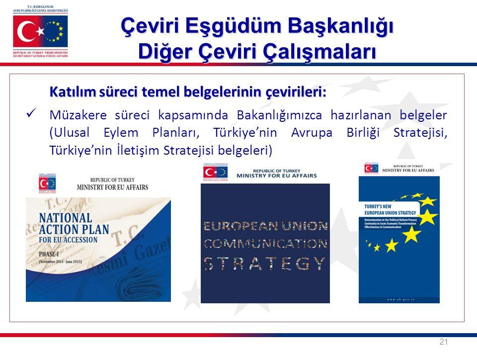 Katılım süreci temel belgelerinin çevirileri: Müzakere süreci kapsamında Bakanlığımızca hazırlanan belgeler (Ulusal Eylem Planları, Türkiye'nin Avrupa