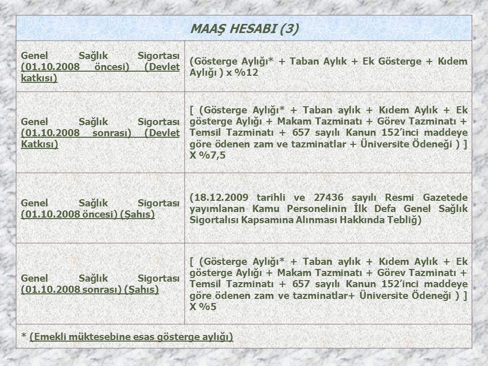 MAAŞ HESABI (3) Genel Sağlık Sigortası (01.10.2008 öncesi) (Devlet katkısı) (Gösterge Aylığı* + Taban Aylık + Ek Gösterge + Kıdem Aylığı ) x %12 Genel Sağlık Sigortası (01.10.2008 sonrası) (Devlet Katkısı) [ (Gösterge Aylığı* + Taban aylık + Kıdem Aylık + Ek gösterge Aylığı + Makam Tazminatı + Görev Tazminatı + Temsil Tazminatı + 657 sayılı Kanun 152'inci maddeye göre ödenen zam ve tazminatlar + Üniversite Ödeneği ) ] X %7,5 Genel Sağlık Sigortası (01.10.2008 öncesi) (Şahıs) (18.12.2009 tarihli ve 27436 sayılı Resmi Gazetede yayımlanan Kamu Personelinin İlk Defa Genel Sağlık Sigortalısı Kapsamına Alınması Hakkında Tebliğ) Genel Sağlık Sigortası (01.10.2008 sonrası) (Şahıs) [ (Gösterge Aylığı* + Taban aylık + Kıdem Aylık + Ek gösterge Aylığı + Makam Tazminatı + Görev Tazminatı + Temsil Tazminatı + 657 sayılı Kanun 152'inci maddeye göre ödenen zam ve tazminatlar+ Üniversite Ödeneği ) ] X %5 * (Emekli müktesebine esas gösterge aylığı)
