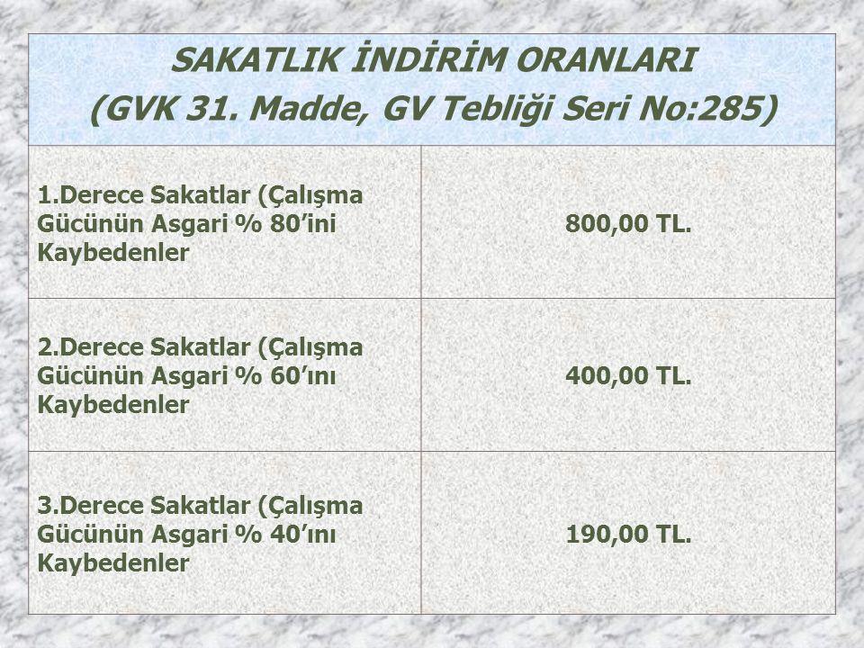 SAKATLIK İNDİRİM ORANLARI (GVK 31.