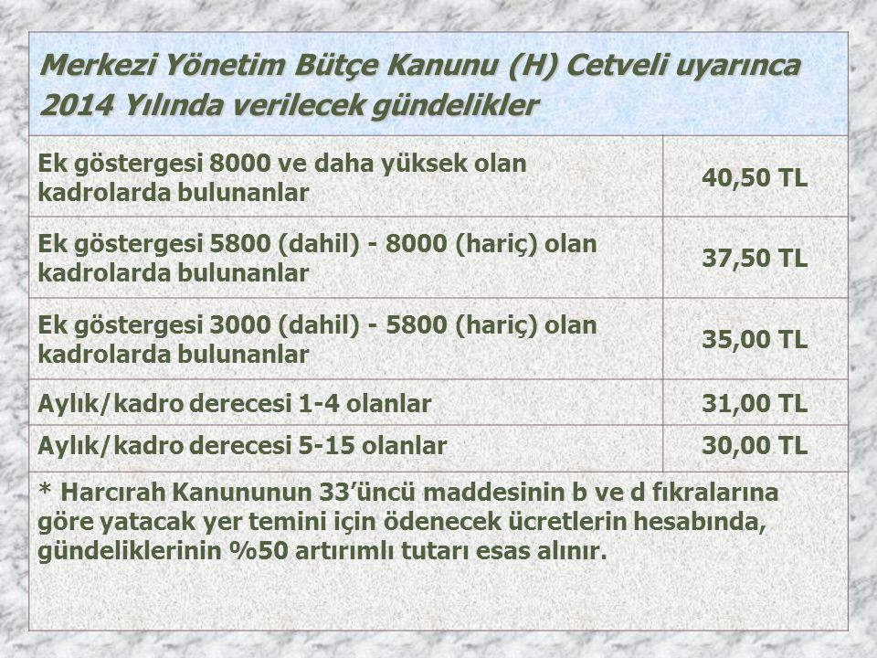 Merkezi Yönetim Bütçe Kanunu (H) Cetveli uyarınca 2014 Yılında verilecek gündelikler Ek göstergesi 8000 ve daha yüksek olan kadrolarda bulunanlar 40,50 TL Ek göstergesi 5800 (dahil) - 8000 (hariç) olan kadrolarda bulunanlar 37,50 TL Ek göstergesi 3000 (dahil) - 5800 (hariç) olan kadrolarda bulunanlar 35,00 TL Aylık/kadro derecesi 1-4 olanlar31,00 TL Aylık/kadro derecesi 5-15 olanlar30,00 TL * Harcırah Kanununun 33'üncü maddesinin b ve d fıkralarına göre yatacak yer temini için ödenecek ücretlerin hesabında, gündeliklerinin %50 artırımlı tutarı esas alınır.