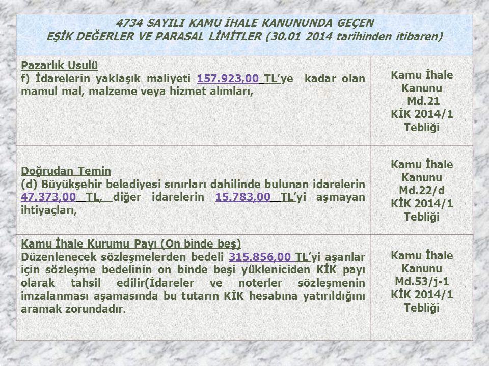 4734 SAYILI KAMU İHALE KANUNUNDA GEÇEN EŞİK DEĞERLER VE PARASAL LİMİTLER (30.01 2014 tarihinden itibaren) Pazarlık Usulü f) İdarelerin yaklaşık maliyeti 157.923,00 TL'ye kadar olan mamul mal, malzeme veya hizmet alımları, Kamu İhale Kanunu Md.21 KİK 2014/1 Tebliği Doğrudan Temin (d) Büyükşehir belediyesi sınırları dahilinde bulunan idarelerin 47.373,00 TL, diğer idarelerin 15.783,00 TL'yi aşmayan ihtiyaçları, Kamu İhale Kanunu Md.22/d KİK 2014/1 Tebliği Kamu İhale Kurumu Payı (On binde beş) Düzenlenecek sözleşmelerden bedeli 315.856,00 TL'yi aşanlar için sözleşme bedelinin on binde beşi yükleniciden KİK payı olarak tahsil edilir(İdareler ve noterler sözleşmenin imzalanması aşamasında bu tutarın KİK hesabına yatırıldığını aramak zorundadır.