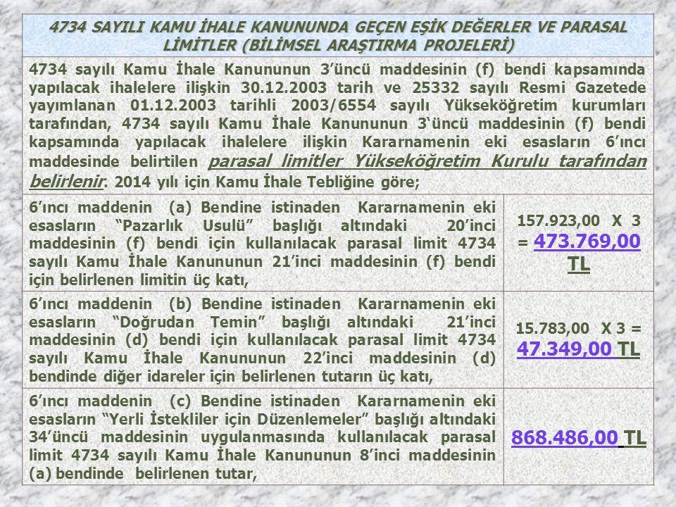 4734 SAYILI KAMU İHALE KANUNUNDA GEÇEN EŞİK DEĞERLER VE PARASAL LİMİTLER (BİLİMSEL ARAŞTIRMA PROJELERİ) 4734 sayılı Kamu İhale Kanununun 3'üncü maddesinin (f) bendi kapsamında yapılacak ihalelere ilişkin 30.12.2003 tarih ve 25332 sayılı Resmi Gazetede yayımlanan 01.12.2003 tarihli 2003/6554 sayılı Yükseköğretim kurumları tarafından, 4734 sayılı Kamu İhale Kanununun 3'üncü maddesinin (f) bendi kapsamında yapılacak ihalelere ilişkin Kararnamenin eki esasların 6'ıncı maddesinde belirtilen parasal limitler Yükseköğretim Kurulu tarafından belirlenir.
