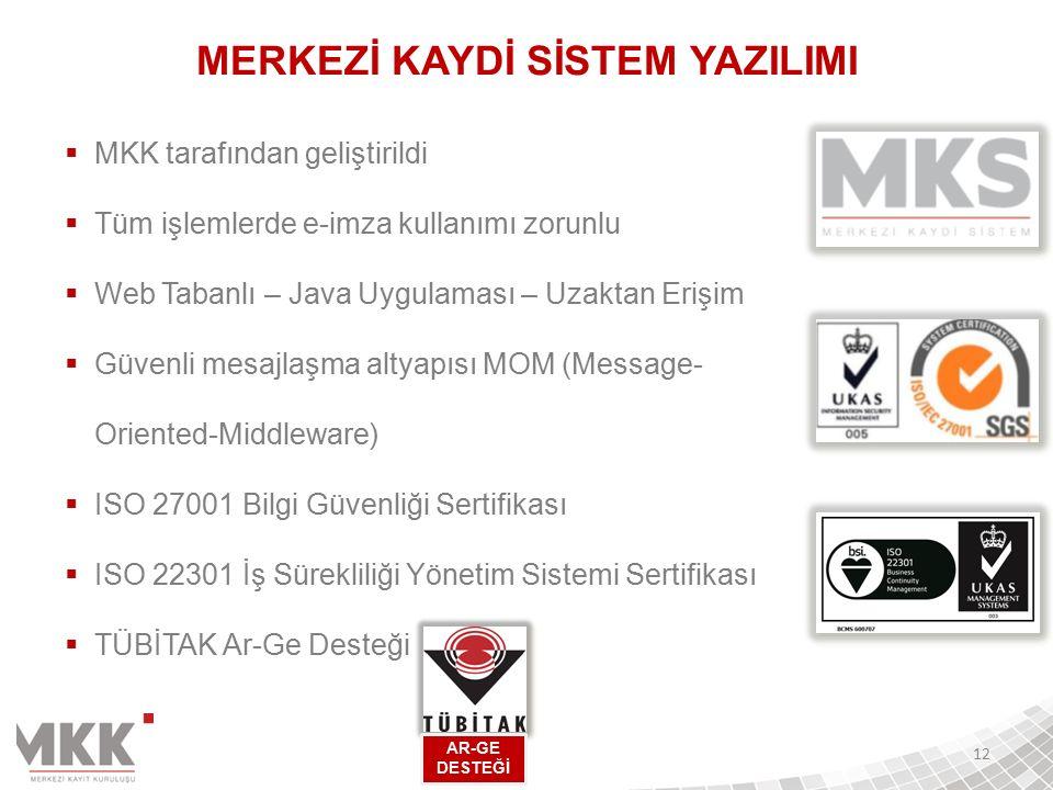  MKK tarafından geliştirildi  Tüm işlemlerde e-imza kullanımı zorunlu  Web Tabanlı – Java Uygulaması – Uzaktan Erişim  Güvenli mesajlaşma altyapısı MOM (Message- Oriented-Middleware)  ISO 27001 Bilgi Güvenliği Sertifikası  ISO 22301 İş Sürekliliği Yönetim Sistemi Sertifikası  TÜBİTAK Ar-Ge Desteği 12 AR-GE DESTEĞİ MERKEZİ KAYDİ SİSTEM YAZILIMI