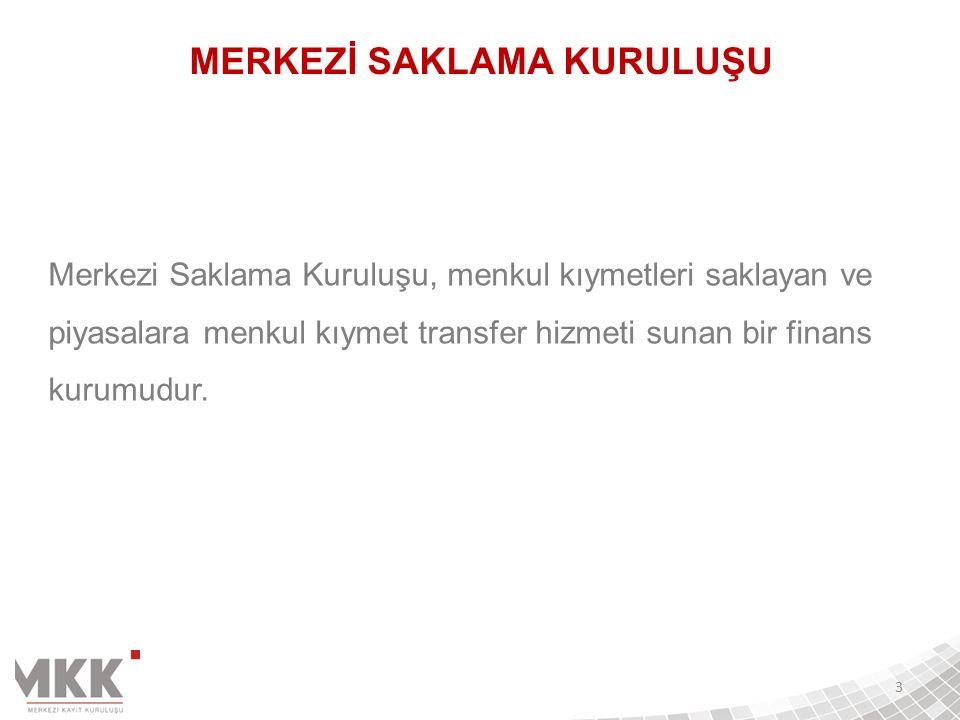  Türkiye'nin Merkezi Saklama Kuruluşu  Yeni Sermaye Piyasası Kanunu 13., 80.