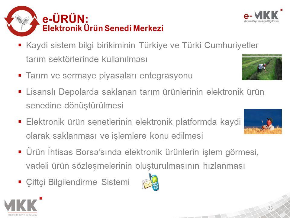  Kaydi sistem bilgi birikiminin Türkiye ve Türki Cumhuriyetler tarım sektörlerinde kullanılması  Tarım ve sermaye piyasaları entegrasyonu  Lisanslı Depolarda saklanan tarım ürünlerinin elektronik ürün senedine dönüştürülmesi  Elektronik ürün senetlerinin elektronik platformda kaydi olarak saklanması ve işlemlere konu edilmesi  Ürün İhtisas Borsa'sında elektronik ürünlerin işlem görmesi, vadeli ürün sözleşmelerinin oluşturulmasının hızlanması  Çiftçi Bilgilendirme Sistemi 33 e-ÜRÜN: Elektronik Ürün Senedi Merkezi