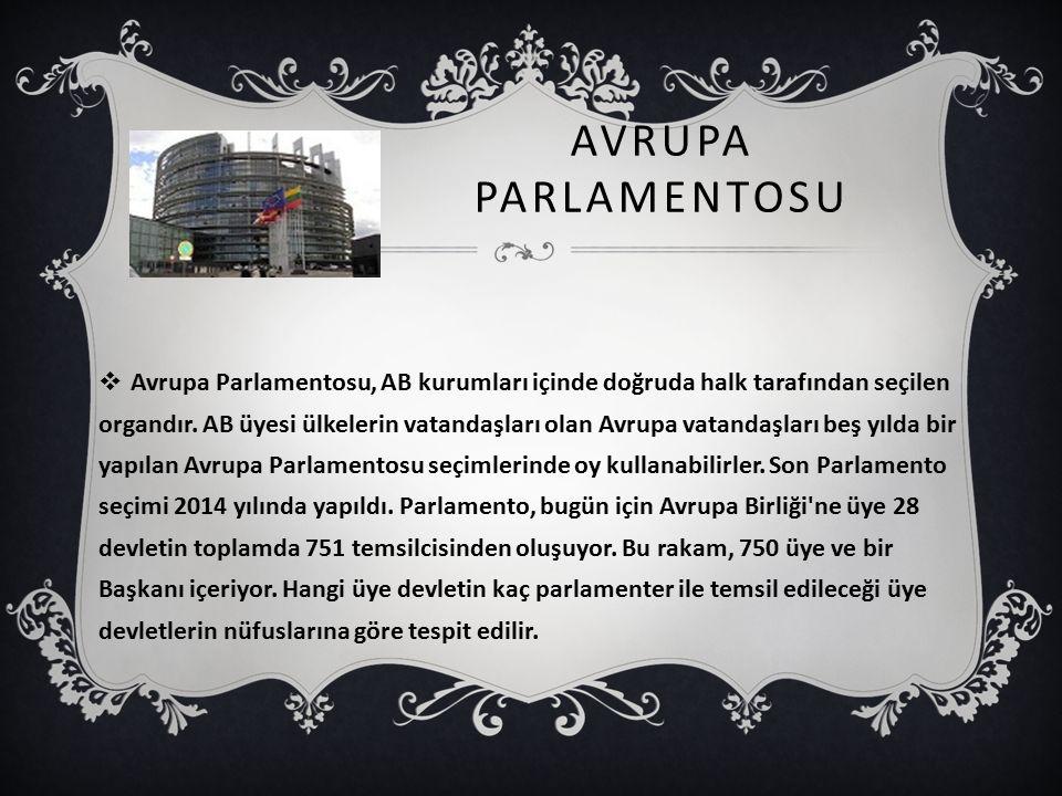 AVRUPA PARLAMENTOSU  Avrupa Parlamentosu, AB kurumları içinde doğruda halk tarafından seçilen organdır. AB üyesi ülkelerin vatandaşları olan Avrupa v