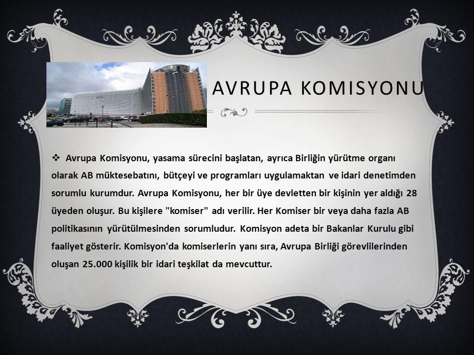 AVRUPA KOMISYONU  Avrupa Komisyonu, yasama sürecini başlatan, ayrıca Birliğin yürütme organı olarak AB müktesebatını, bütçeyi ve programları uygulamaktan ve idari denetimden sorumlu kurumdur.
