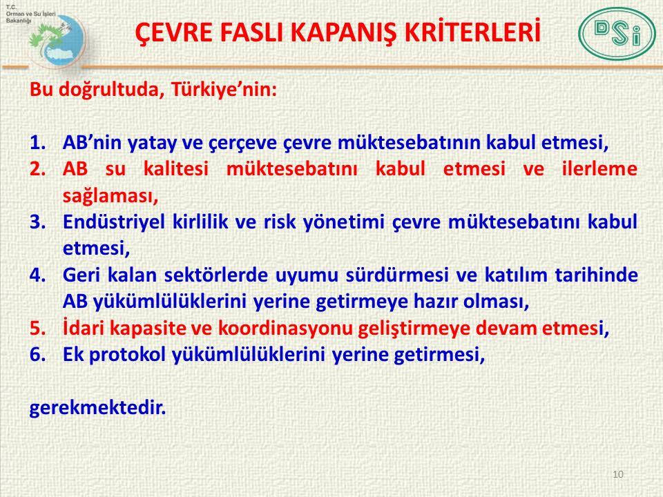 Bu doğrultuda, Türkiye'nin: 1.AB'nin yatay ve çerçeve çevre müktesebatının kabul etmesi, 2.AB su kalitesi müktesebatını kabul etmesi ve ilerleme sağla