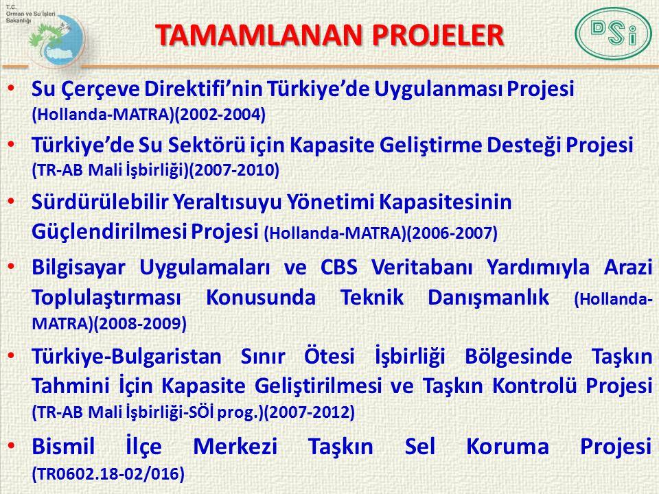 TAMAMLANAN PROJELER Su Çerçeve Direktifi'nin Türkiye'de Uygulanması Projesi (Hollanda-MATRA)(2002-2004) Türkiye'de Su Sektörü için Kapasite Geliştirme