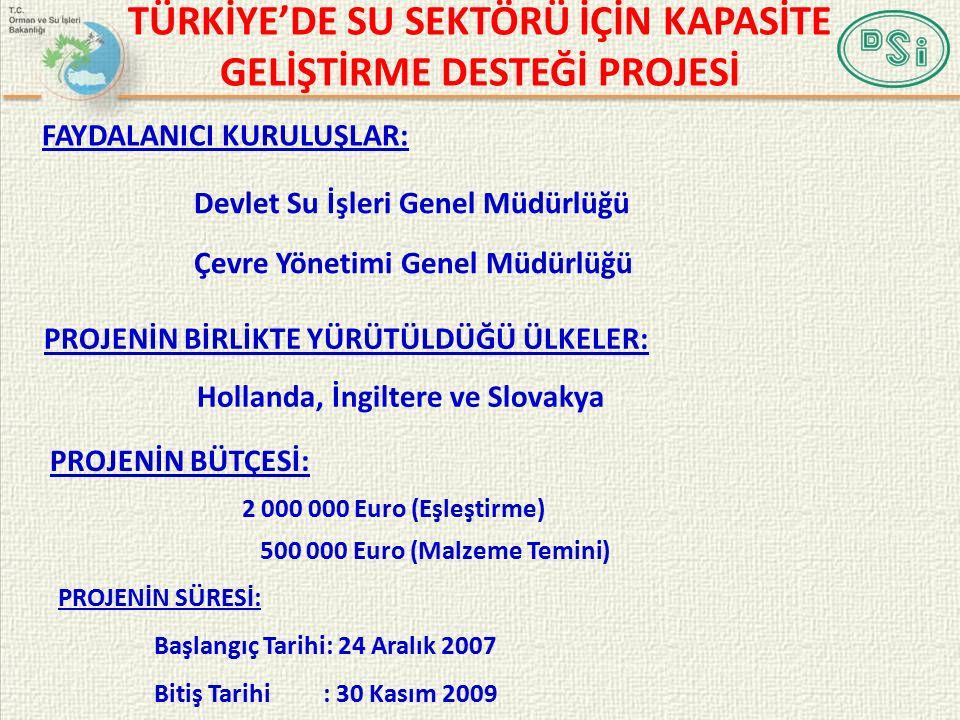 FAYDALANICI KURULUŞLAR: Devlet Su İşleri Genel Müdürlüğü Çevre Yönetimi Genel Müdürlüğü PROJENİN BÜTÇESİ: 2 000 000 Euro (Eşleştirme) 500 000 Euro (Malzeme Temini) PROJENİN SÜRESİ: Başlangıç Tarihi: 24 Aralık 2007 Bitiş Tarihi : 30 Kasım 2009 TÜRKİYE'DE SU SEKTÖRÜ İÇİN KAPASİTE GELİŞTİRME DESTEĞİ PROJESİ PROJENİN BİRLİKTE YÜRÜTÜLDÜĞÜ ÜLKELER: Hollanda, İngiltere ve Slovakya