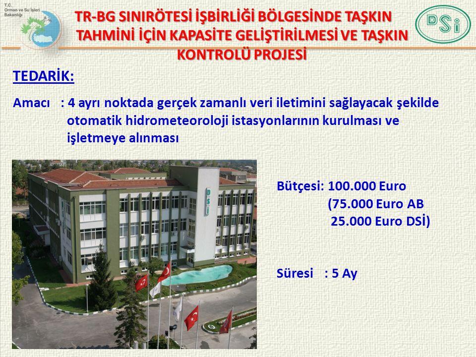 Amacı : 4 ayrı noktada gerçek zamanlı veri iletimini sağlayacak şekilde otomatik hidrometeoroloji istasyonlarının kurulması ve işletmeye alınması TEDARİK: Bütçesi: 100.000 Euro (75.000 Euro AB 25.000 Euro DSİ) Süresi: 5 Ay TR-BG SINIRÖTESİ İŞBİRLİĞİ BÖLGESİNDE TAŞKIN TAHMİNİ İÇİN KAPASİTE GELİŞTİRİLMESİ VE TAŞKIN KONTROLÜ PROJESİ