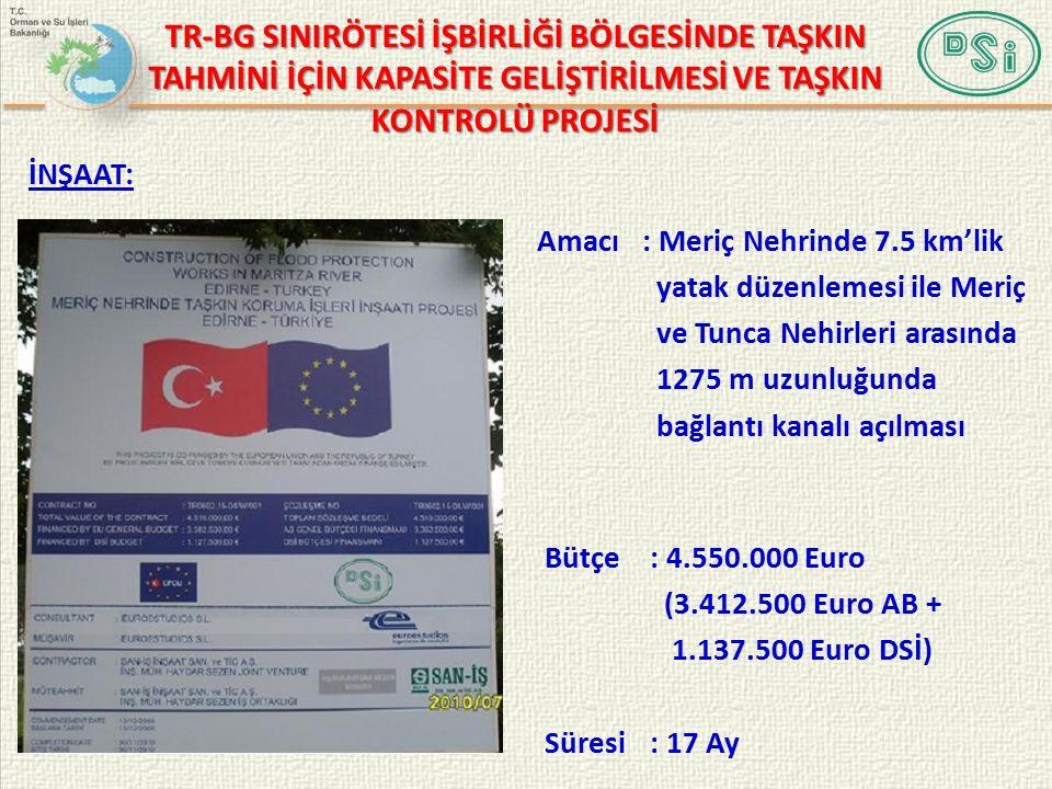 Bütçe: 4.550.000 Euro (3.412.500 Euro AB + 1.137.500 Euro DSİ) Süresi: 17 Ay Amacı : Meriç Nehrinde 7.5 km'lik yatak düzenlemesi ile Meriç ve Tunca Nehirleri arasında 1275 m uzunluğunda bağlantı kanalı açılması İNŞAAT: TR-BG SINIRÖTESİ İŞBİRLİĞİ BÖLGESİNDE TAŞKIN TAHMİNİ İÇİN KAPASİTE GELİŞTİRİLMESİ VE TAŞKIN KONTROLÜ PROJESİ