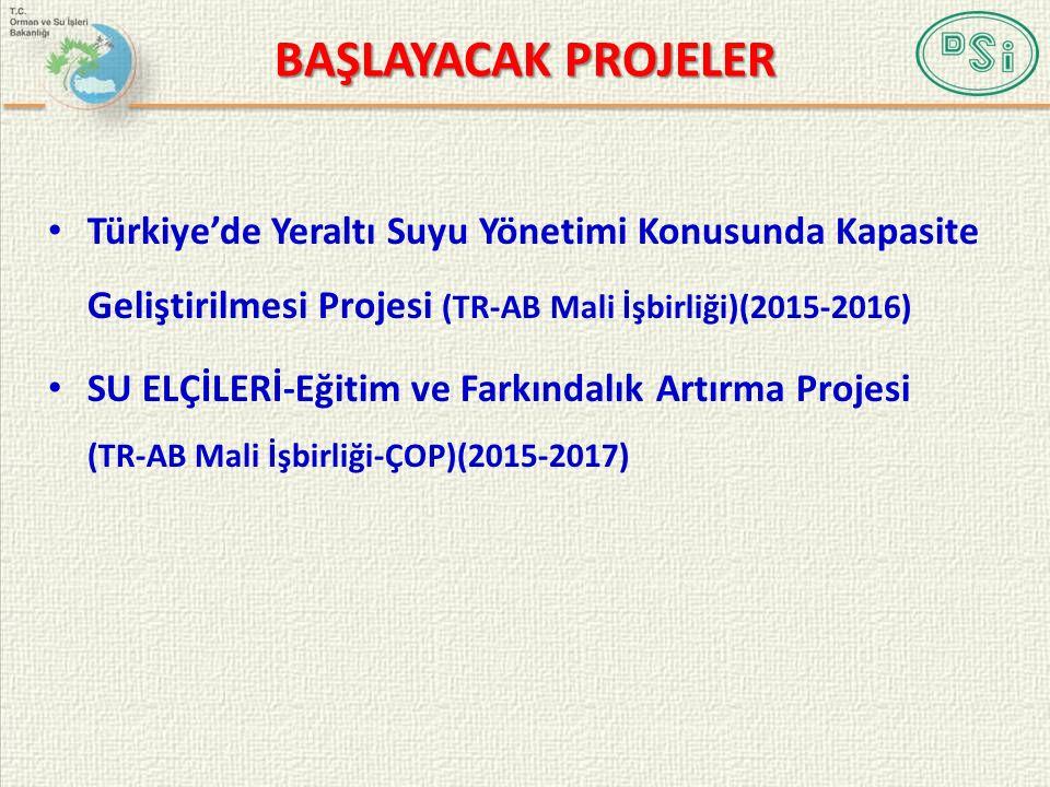 BAŞLAYACAK PROJELER Türkiye'de Yeraltı Suyu Yönetimi Konusunda Kapasite Geliştirilmesi Projesi (TR-AB Mali İşbirliği)(2015-2016) SU ELÇİLERİ-Eğitim ve Farkındalık Artırma Projesi (TR-AB Mali İşbirliği-ÇOP)(2015-2017)