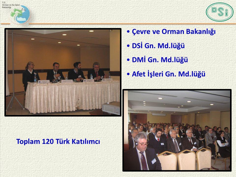 Toplam 120 Türk Katılımcı Çevre ve Orman Bakanlığı DSİ Gn. Md.lüğü DMİ Gn. Md.lüğü Afet İşleri Gn. Md.lüğü