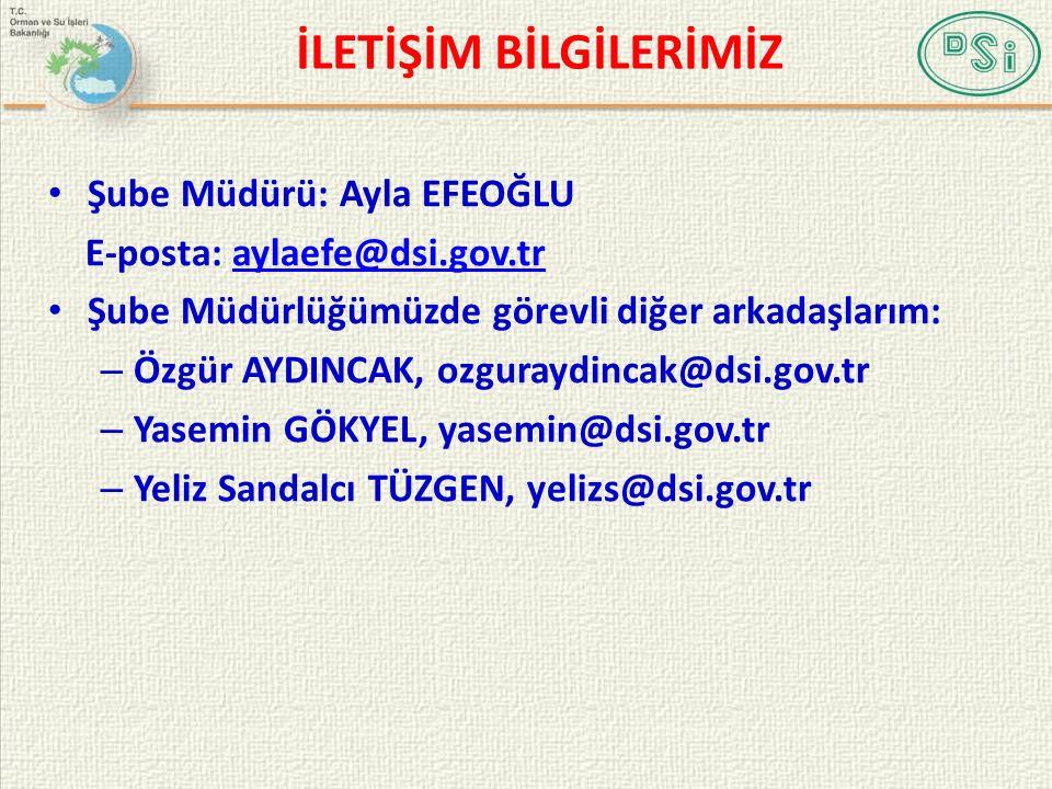 İLETİŞİM BİLGİLERİMİZ Şube Müdürü: Ayla EFEOĞLU E-posta: aylaefe@dsi.gov.traylaefe@dsi.gov.tr Şube Müdürlüğümüzde görevli diğer arkadaşlarım: – Özgür