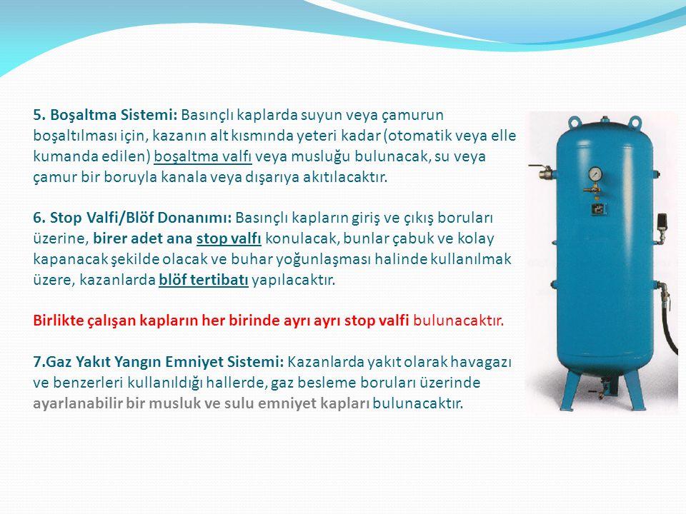 5. Boşaltma Sistemi: Basınçlı kaplarda suyun veya çamurun boşaltılması için, kazanın alt kısmında yeteri kadar (otomatik veya elle kumanda edilen) boş