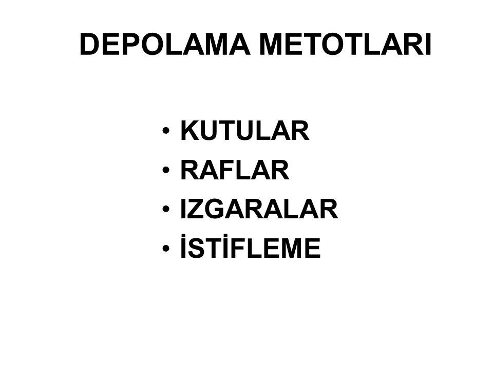 DEPOLAMA METOTLARI KUTULAR RAFLAR IZGARALAR İSTİFLEME
