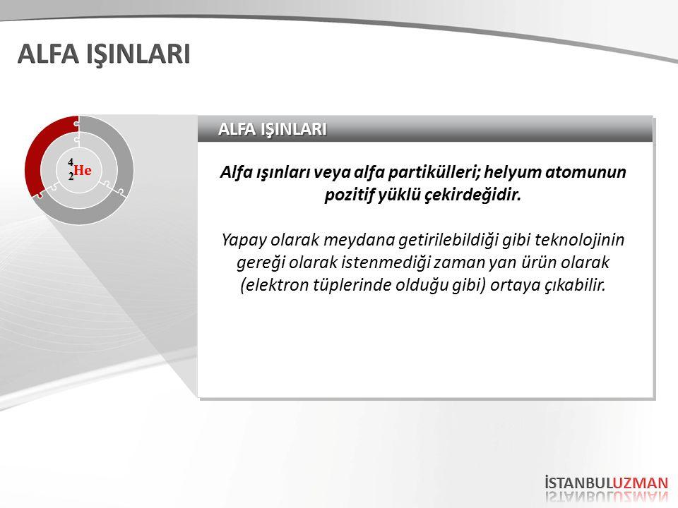 ALFA IŞINLARI Alfa ışınları veya alfa partikülleri; helyum atomunun pozitif yüklü çekirdeğidir.