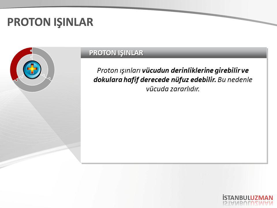 PROTON IŞINLAR Proton ışınları vücudun derinliklerine girebilir ve dokulara hafif derecede nüfuz edebilir.