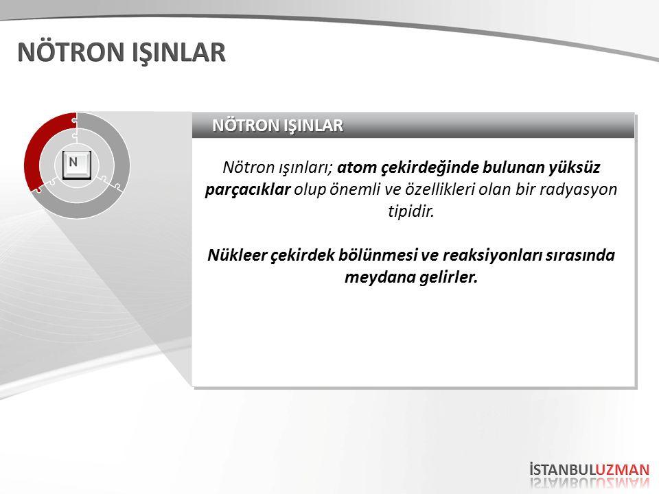 NÖTRON IŞINLAR Nötron ışınları; atom çekirdeğinde bulunan yüksüz parçacıklar olup önemli ve özellikleri olan bir radyasyon tipidir.