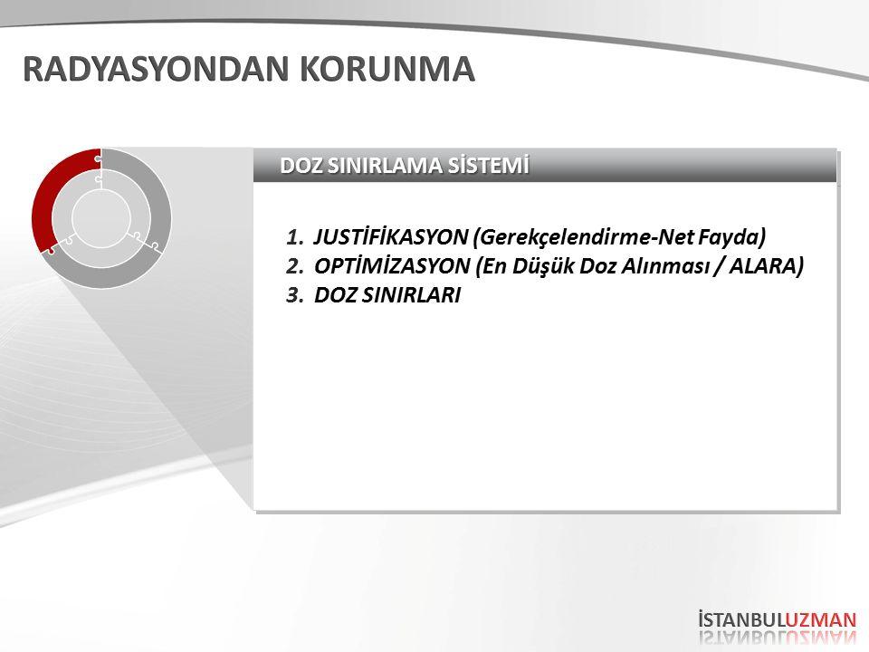 DOZ SINIRLAMA SİSTEMİ 1.JUSTİFİKASYON (Gerekçelendirme-Net Fayda) 2.OPTİMİZASYON (En Düşük Doz Alınması / ALARA) 3.DOZ SINIRLARI 1.JUSTİFİKASYON (Gerekçelendirme-Net Fayda) 2.OPTİMİZASYON (En Düşük Doz Alınması / ALARA) 3.DOZ SINIRLARI