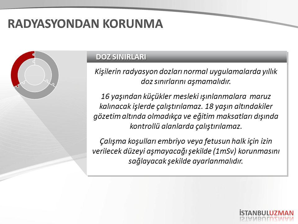 DOZ SINIRLARI Kişilerin radyasyon dozları normal uygulamalarda yıllık doz sınırlarını aşmamalıdır.