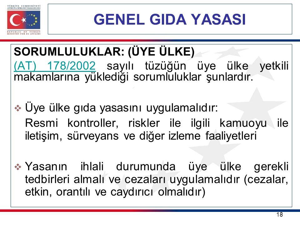 GENEL GIDA YASASI 18 SORUMLULUKLAR: (ÜYE ÜLKE) (AT) 178/2002(AT) 178/2002 sayılı tüzüğün üye ülke yetkili makamlarına yüklediği sorumluluklar şunlardır.
