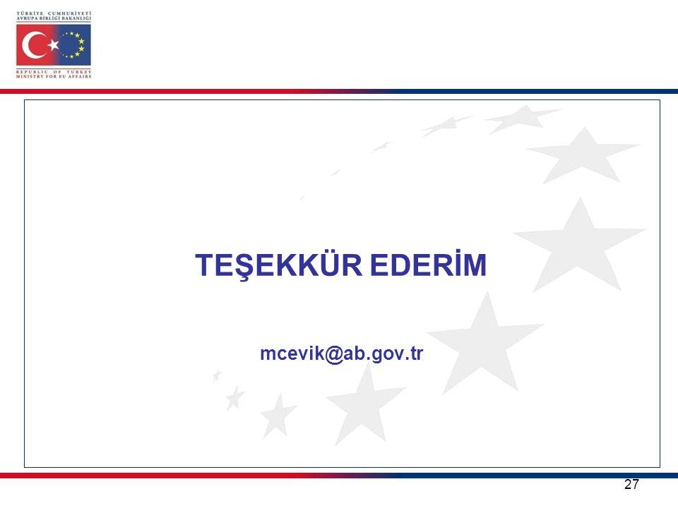 TEŞEKKÜR EDERİM mcevik@ab.gov.tr 27