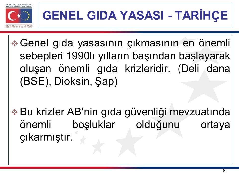 GENEL GIDA YASASI 17 SORUMLULUKLAR: (GIDA İŞLETMECİSİ) (AT) 178/2002(AT) 178/2002 sayılı tüzüğün gıda işletmecisine yüklediği sorumluluklar şunlardır.