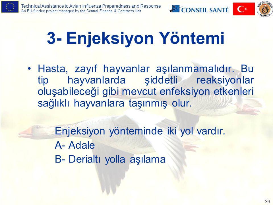 Technical Assistance to Avian Influenza Preparedness and Response An EU-funded project managed by the Central Finance & Contracts Unit 29 3- Enjeksiyon Yöntemi Hasta, zayıf hayvanlar aşılanmamalıdır.