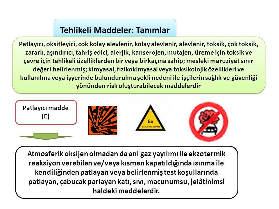 Tehlikeli Maddeler: Tanımlar Patlayıcı, oksitleyici, çok kolay alevlenir, kolay alevlenir, alevlenir, toksik, çok toksik, zararlı, aşındırıcı, tahriş edici, alerjik, kanserojen, mutajen, üreme için toksik ve çevre için tehlikeli özelliklerden bir veya birkaçına sahip; mesleki maruziyet sınır değeri belirlenmiş; kimyasal, fizikokimyasal veya toksikolojik özellikleri ve kullanılma veya işyerinde bulundurulma şekli nedeni ile işçilerin sağlık ve güvenliği yönünden risk oluşturabilecek maddelerdir Patlayıcı madde (E) Atmosferik oksijen olmadan da ani gaz yayılımı ile ekzotermik reaksiyon verebilen ve/veya kısmen kapatıldığında ısınma ile kendiliğinden patlayan veya belirlenmiş test koşullarında patlayan, çabucak parlayan katı, sıvı, macunumsu, jelâtinimsi haldeki maddelerdir.