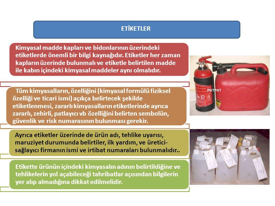 ETİKETLER Kimyasal madde kapları ve bidonlarının üzerindeki etiketlerde önemli bir bilgi kaynağıdır.