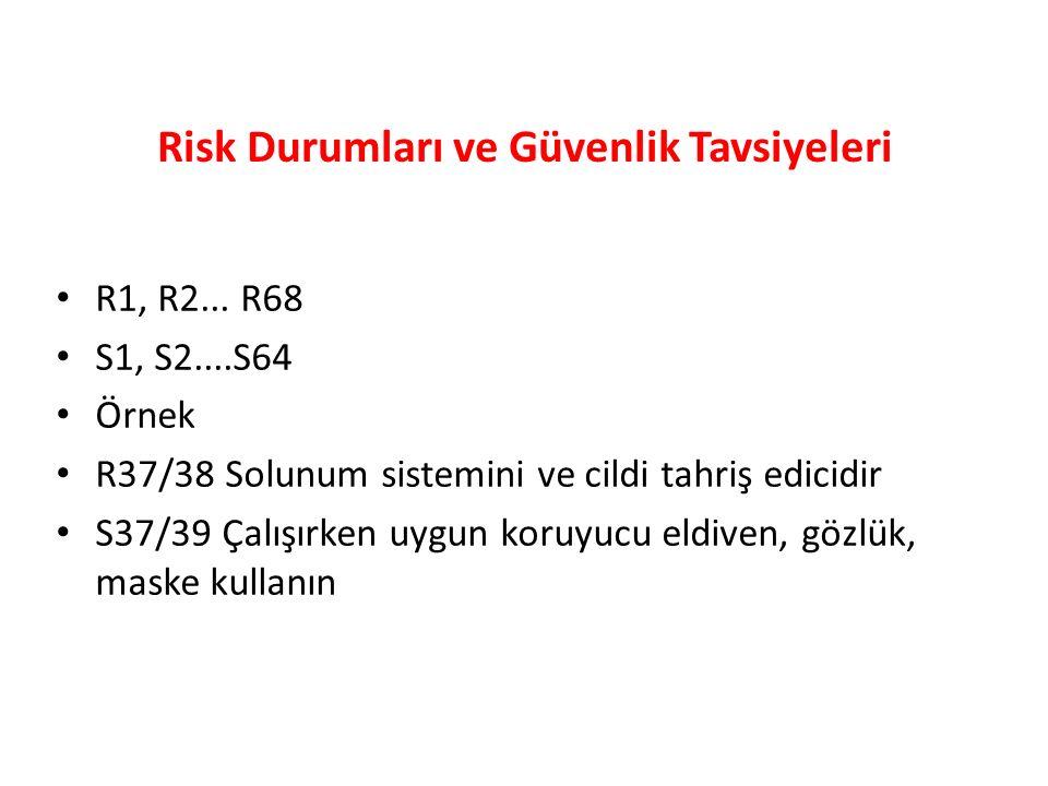 Risk Durumları ve Güvenlik Tavsiyeleri R1, R2...