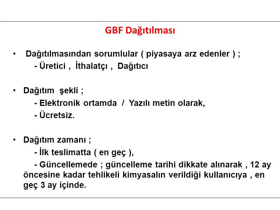 GBF Dağıtılması Dağıtılmasından sorumlular ( piyasaya arz edenler ) ; - Üretici, İthalatçı, Dağıtıcı Dağıtım şekli ; - Elektronik ortamda / Yazılı metin olarak, - Ücretsiz.