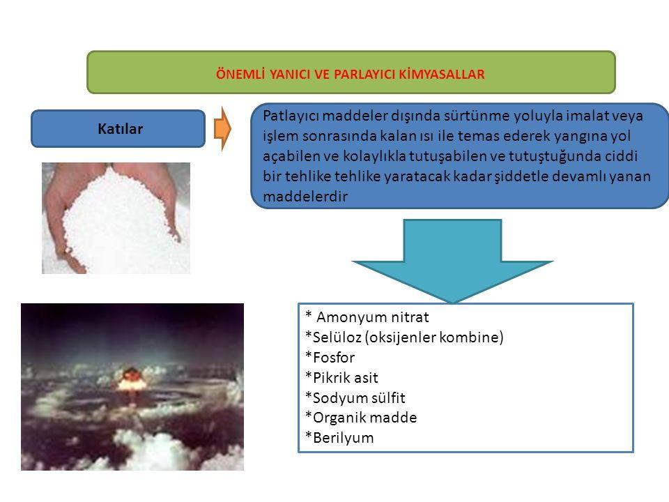 Katılar Patlayıcı maddeler dışında sürtünme yoluyla imalat veya işlem sonrasında kalan ısı ile temas ederek yangına yol açabilen ve kolaylıkla tutuşabilen ve tutuştuğunda ciddi bir tehlike tehlike yaratacak kadar şiddetle devamlı yanan maddelerdir * Amonyum nitrat *Selüloz (oksijenler kombine) *Fosfor *Pikrik asit *Sodyum sülfit *Organik madde *Berilyum ÖNEMLİ YANICI VE PARLAYICI KİMYASALLAR