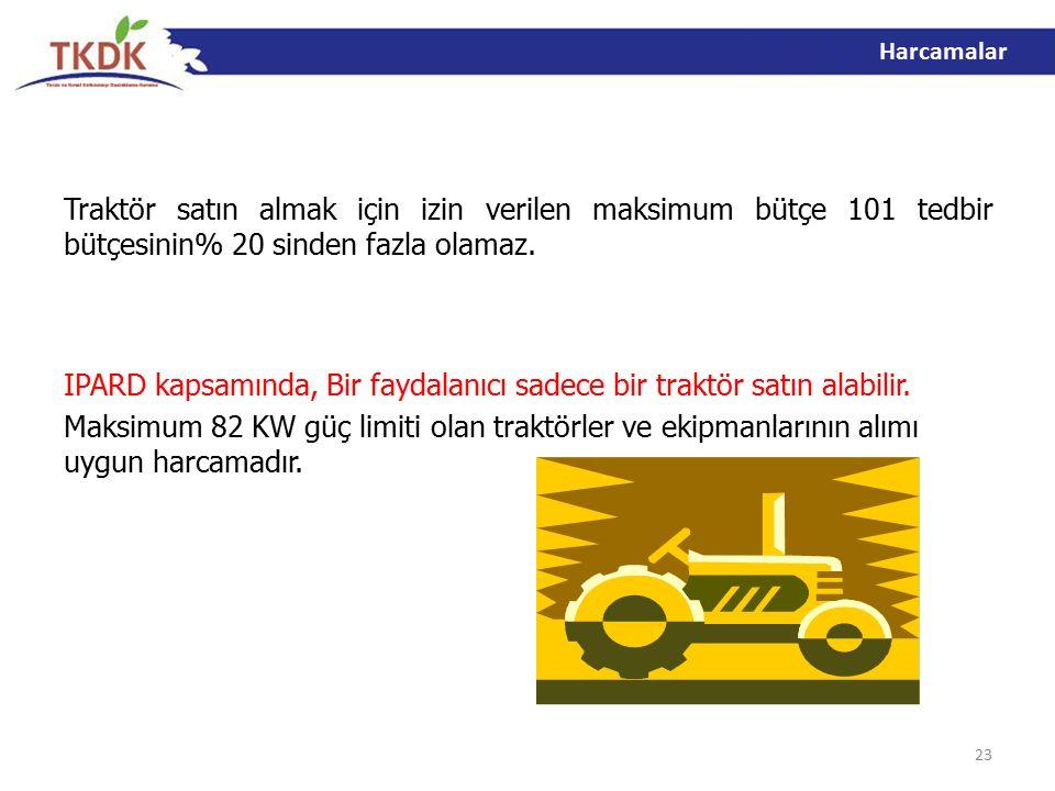Traktör satın almak için izin verilen maksimum bütçe 101 tedbir bütçesinin% 20 sinden fazla olamaz.