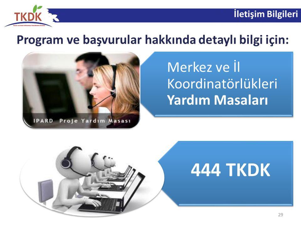 İletişim Bilgileri Program ve başvurular hakkında detaylı bilgi için: 29 Merkez ve İl Koordinatörlükleri Yardım Masaları 444 TKDK